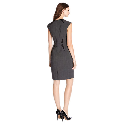 Buy Warehouse Check Panelled Workwear Dress, Light Grey Online at johnlewis.com