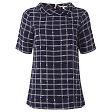 Buy White Stuff Pencil Check Top, French Navy Online at johnlewis.com