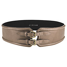 Buy Jigsaw Two Buckles Leather Waist Belt, Grey Online at johnlewis.com