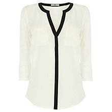 Buy Oasis Tipped Woven Front Shirt, Multi Natural Online at johnlewis.com