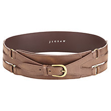 Buy Jigsaw Wide Buckle Waist Belt, Tan Online at johnlewis.com