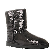 Buy UGG Classic Sequin Short Ankle Boots, Black Online at johnlewis.com