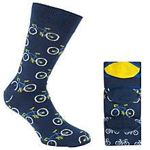 Buy John Lewis Bike Pattern Socks, Pack of 3, Blue Online at johnlewis.com