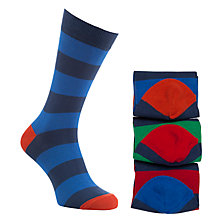 Buy John Lewis Wide Rugby Stripe Socks, Pack of 3, Navy/Green/Red Online at johnlewis.com
