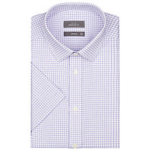 Buy John Lewis Grid Check Short Sleeve Shirt, Lilac Online at johnlewis.com