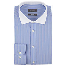 Buy John Lewis Fine Stripe Contrast Collar Shirt, Blue Online at johnlewis.com