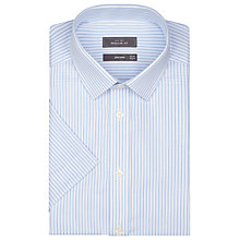 Buy John Lewis Cotton Twill Stripe Short Sleeve Shirt, Blue Online at johnlewis.com