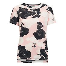 Buy Whistles Rose Print Split Hem T-Shirt, Multi Online at johnlewis.com