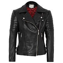 Buy Reiss Topaz Biker Jacket, Black Online at johnlewis.com