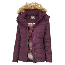 Buy Fat Face Ellie Leather Trim Puffer Jacket, Bordeaux Online at johnlewis.com