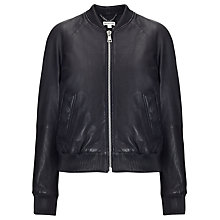 Buy Whistles Kay Soft Leather Biker Jacket, Black Online at johnlewis.com