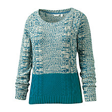 Buy Fat Face Twisted Colour Block Hem Jumper, Peacock Online at johnlewis.com