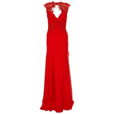Gina Bacconi Long Chiffon Lace Detail Dress, Red