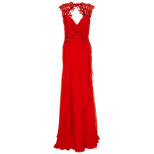 Buy Gina Bacconi Long Chiffon Lace Detail Dress, Red Online at johnlewis.com