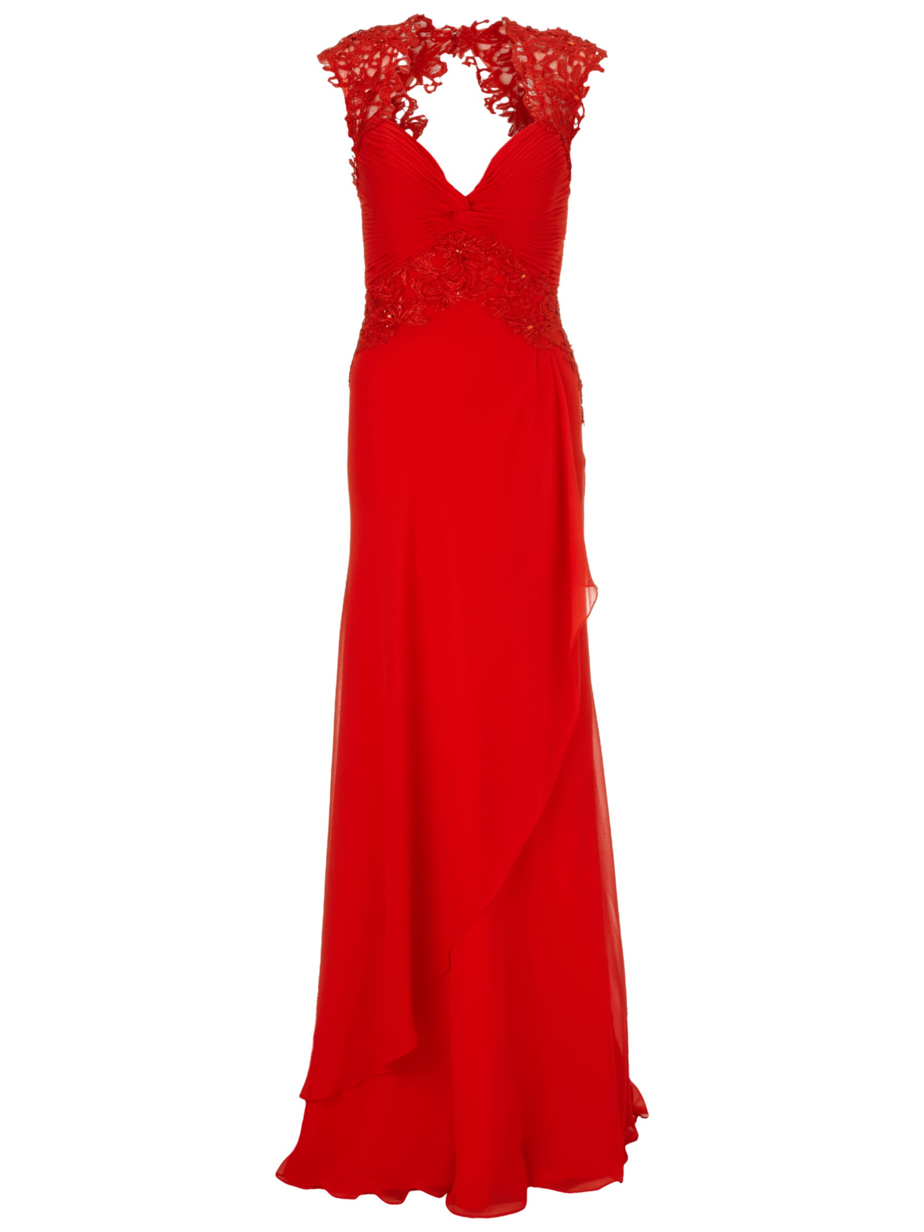 Gina Bacconi Long Chiffon Lace Detail Dress, Red