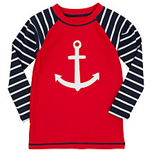 Buy Hatley Boys' Anchor Print Rash Vest, Red/Navy Online at johnlewis.com