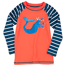 Buy Hatley Boys' Sea Creatures Rash Vest, Orange/Blue Online at johnlewis.com
