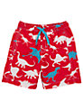 Hatley Boys' Dinosaur Print Board Shorts, Red