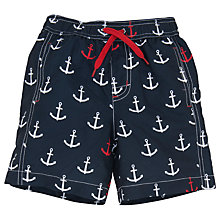 Buy Hatley Boys' Anchor Print Board Shorts, Navy Online at johnlewis.com