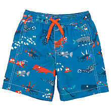 Buy Hatley Boys' Sea Creatures Print Board Shorts, Blue/Multi Online at johnlewis.com
