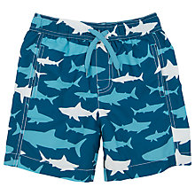 Buy Hatley Boys' Shark Print Board Shorts, Blue Online at johnlewis.com