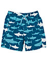 Hatley Boys' Shark Print Board Shorts, Blue