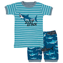 Buy Hatley Children's Shark Print Short Pyjamas, Blue Online at johnlewis.com