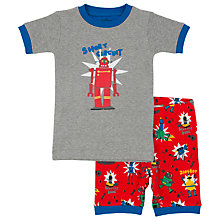 Buy Hatley Children's Robot Print Short Pyjamas, Grey/Red Online at johnlewis.com