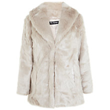 Buy Miss Selfridge Shawl Collar Faux Fur Coat, Beige Online at johnlewis.com