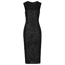 Buy Reiss Delphine Textured Shift Dress, Black Online at johnlewis.com