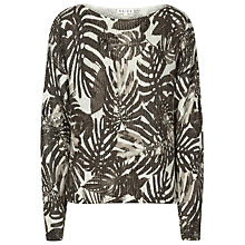 Buy Reiss Lilia Palm Print Jumper, Black / Cream Online at johnlewis.com