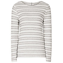 Buy Reiss Orlanda Long Sleeve Stripe Top, Grey Online at johnlewis.com