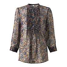 Buy Jigsaw Autumn Floral Silk Print Shirt, Multi Online at johnlewis.com