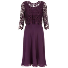 Buy Gina Bacconi Chiffon Pleated Bodice Dress, Wine Online at johnlewis.com