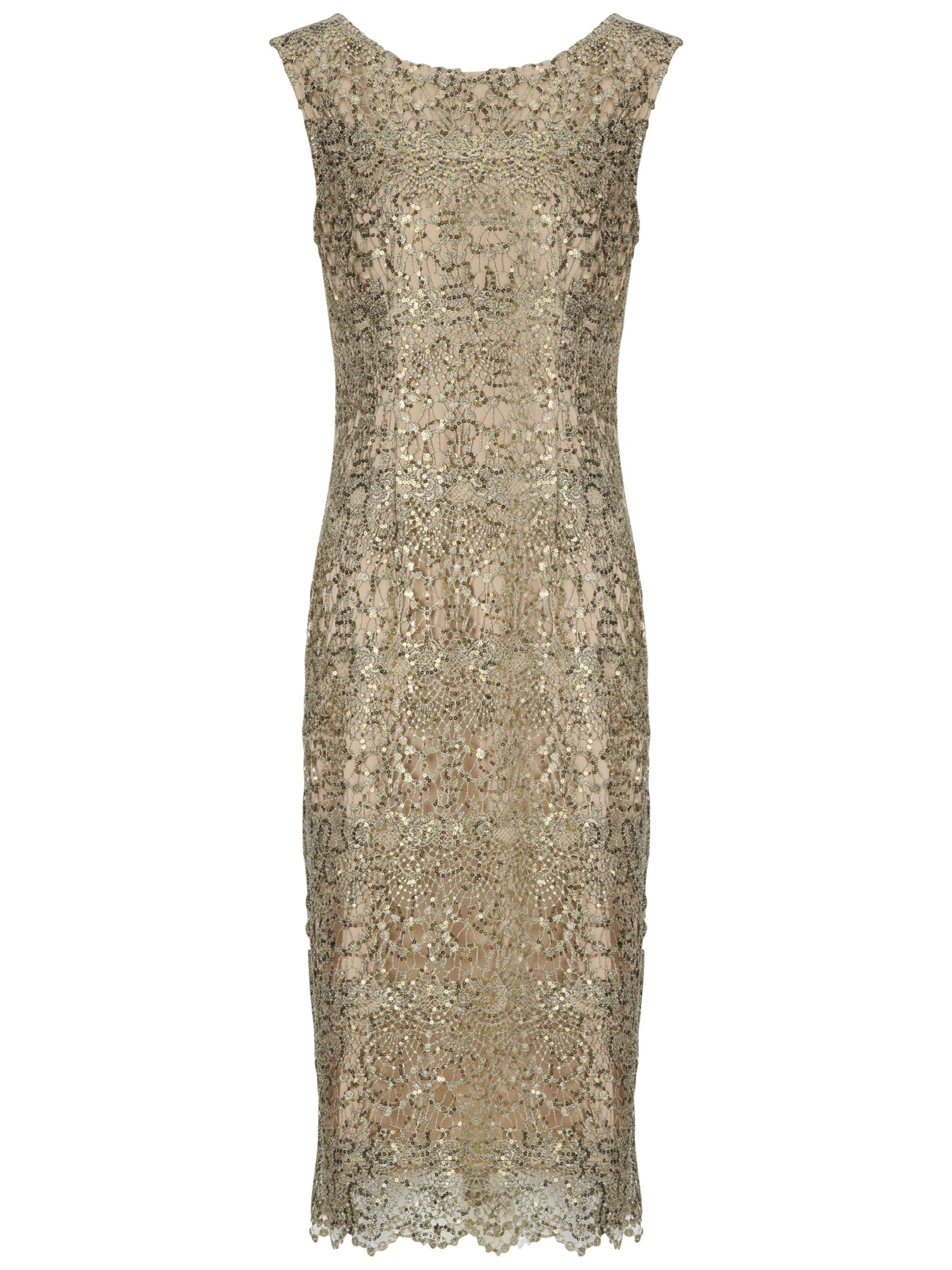 Gina Bacconi Sequin Lace Dress, Gold