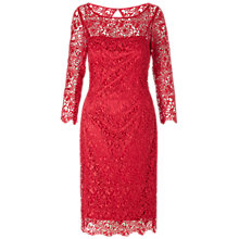 Buy Gina Bacconi Guipure Lace Dress, Red Online at johnlewis.com