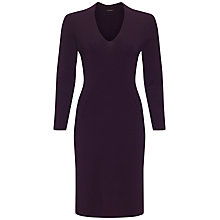 Buy Jaeger Seam Detail Wool  Dress, Damson Online at johnlewis.com