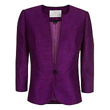 Buy Jacques Vert Collarless Jacket, Purple Online at johnlewis.com