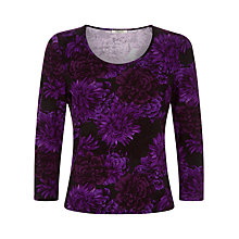 Buy Precis Petite Floral Jersey Top, Purple Online at johnlewis.com