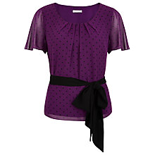 Buy Jacques Vert Spot Pleated Belted Top, Byzantium Online at johnlewis.com