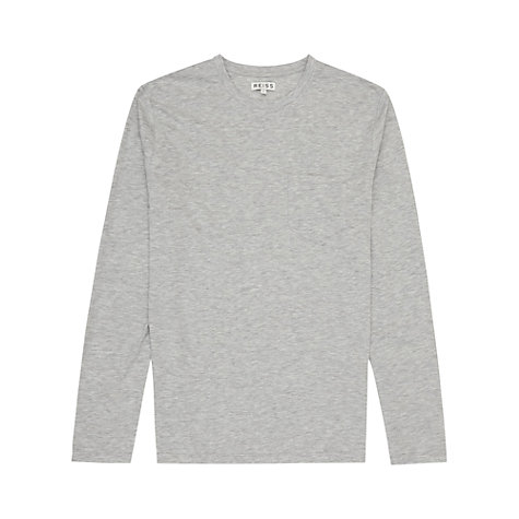 Buy Reiss Max Patch Pocket Long Sleeve T-Shirt, Grey Online at johnlewis.com