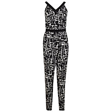 Buy Miss Selfridge Monochrome Cross Back Jumpsuit, Black Online at johnlewis.com