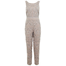 Buy Miss Selfridge Mocha Embellished Jumpsuit, Nude Online at johnlewis.com
