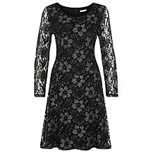 Buy Kaliko Two Colour Lace Skater Dress, Multi Black Online at johnlewis.com