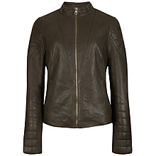 Buy Ted Baker Quilted Arm Leather Jacket, Khaki Online at johnlewis.com