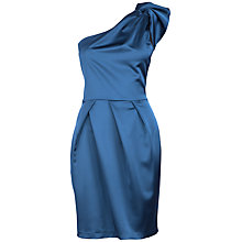 Buy Almari Frill Peplum Satin Dress, Navy Online at johnlewis.com