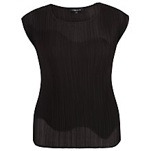 Buy Chesca Chiffon Trim Crush Pleat Top, Black Online at johnlewis.com