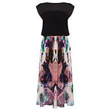 Buy Warehouse Printed Pleated Midi Dress, Black Online at johnlewis.com