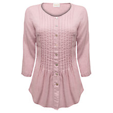 Buy East Linen Pin Tuck Blouse, Pink Online at johnlewis.com