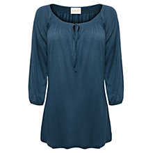 Buy East Longline Keyhole Linen Top, Indigo Online at johnlewis.com